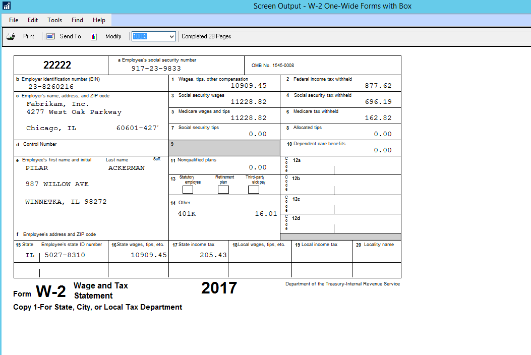 image relating to W 2 Forms Printable referred to as Microsoft Dynamics GP Calendar year-Close Up grade 2017: W-2 Tidbits in the direction of