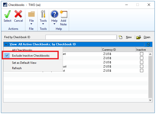 microsoft dynamics gp 2018 r2 option not to show inactive