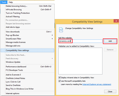 CRM Online and Compatibility settings (IE 11) - Microsoft