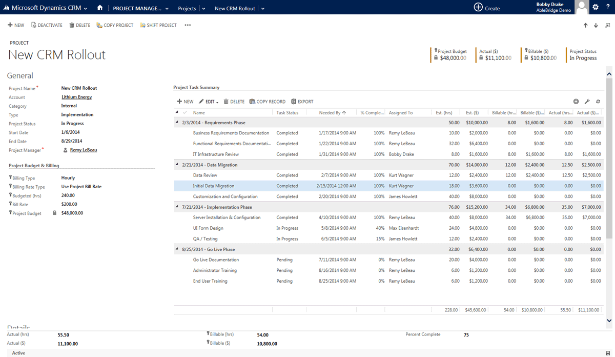 project management for dynamics crm 2013