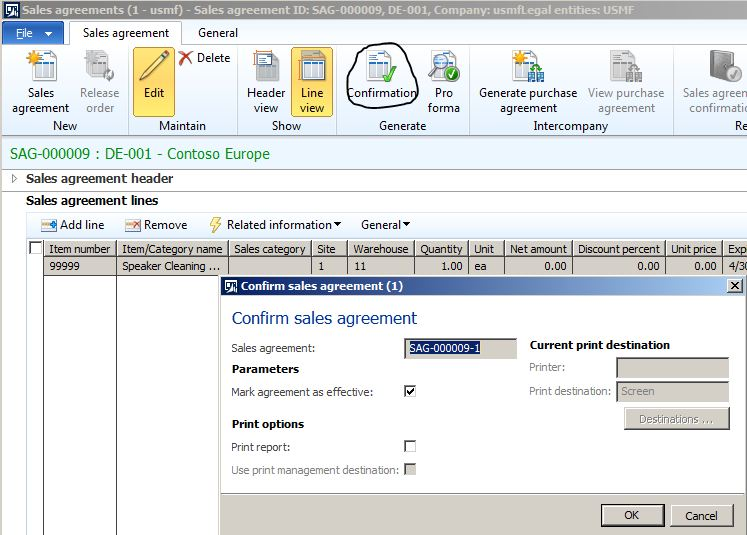 Creating Sales Agreement - Microsoft Dynamics 365, Enterprise