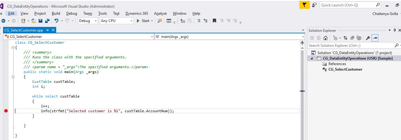Debugging a runnable class in Dynamics 365 for Operations