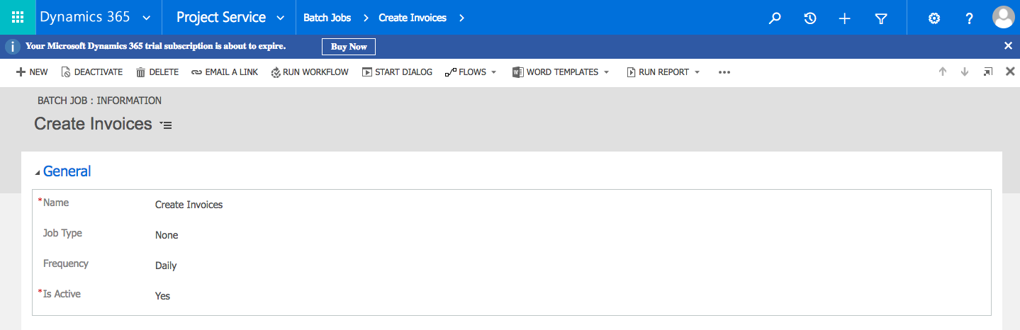 dynamics 365 project service automation invoicing using batch