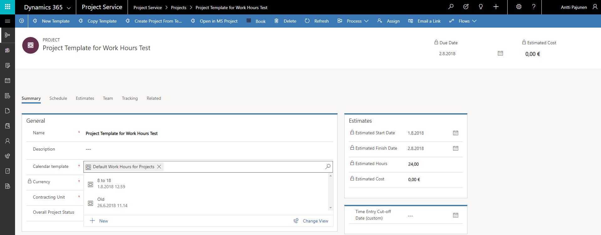 Dynamics 365 Project Service Automation Setting A New Template