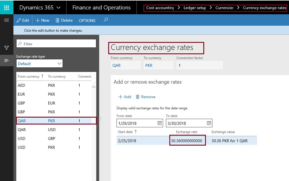This Form Is Used To Define Currency Exchange Rates Between Any Two Currencies Or A Pair Like If I Want Convert Qar Amount Pkr Then Its