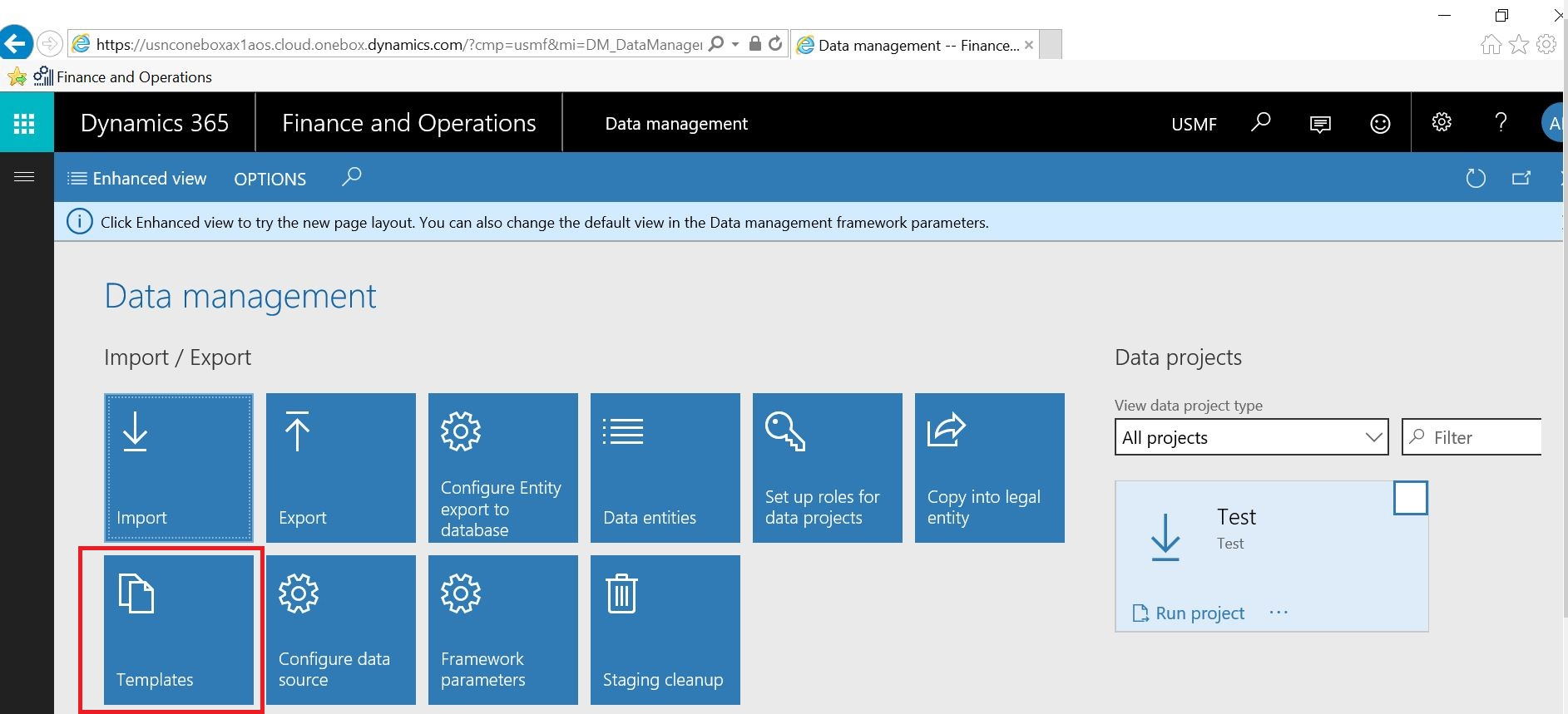 process of getting default data templates in dynamics 365 finance