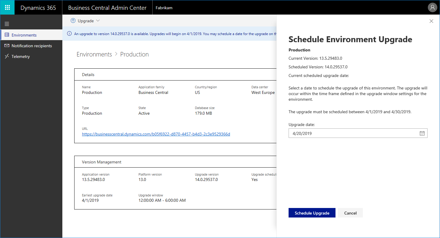 Scheduling your April 2019 Upgrade for Business Central