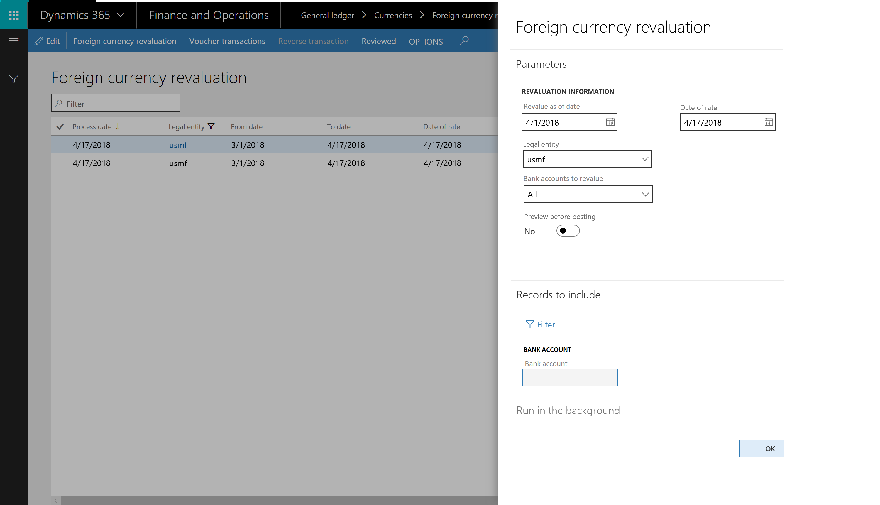 New feature in 10 0 2 - Bank revaluation - Finance and Operations