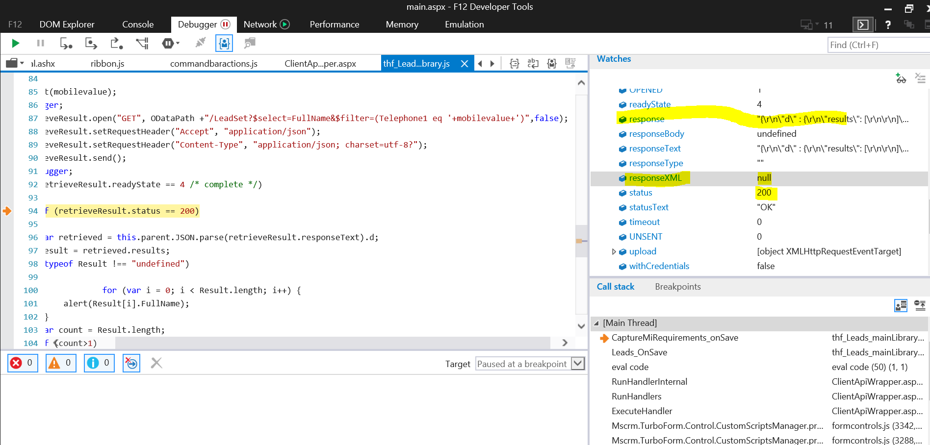S- Dynamics CRM API Call Does not Return any result