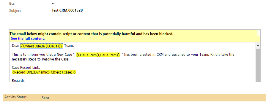Incoming Email has 'script' warning in CRM - Microsoft Dynamics CRM