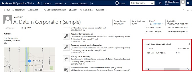 Leads associated to an account - Microsoft Dynamics CRM