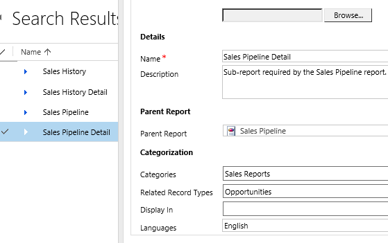 crm 2011 sales pipeline report error subreport missing microsoft