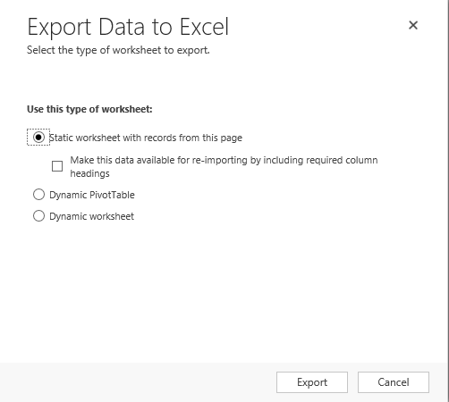 Export to Excel Static Worksheet with records from this page On – Crm Worksheet