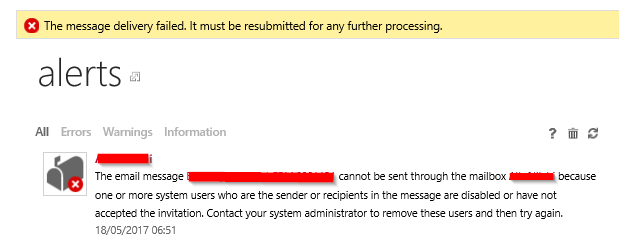 crm message delivery failures due to invitation not sent