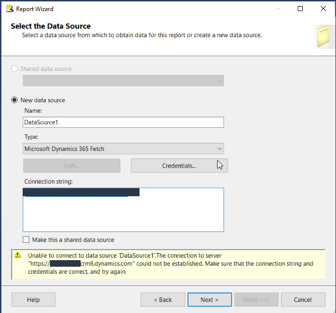 Can not create a Fetch data source is Visual Studio Reports