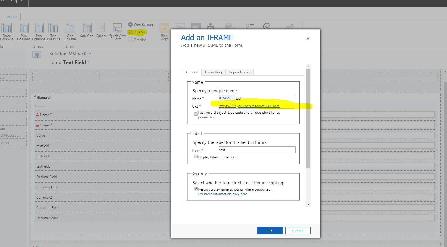 Setting web Resource HTML url To iframe MS-CRM - Microsoft