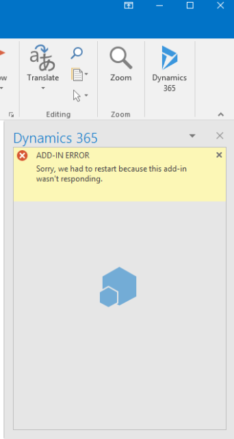 Dynamics 365 App for Outlook will not connect - Microsoft Dynamics