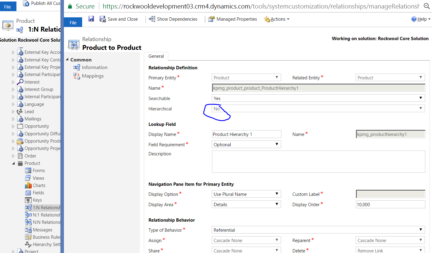 Hierarchical relationship on Product - Microsoft Dynamics