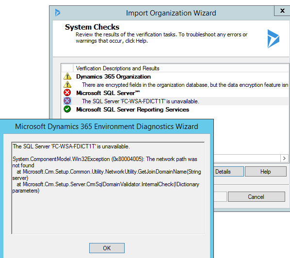 SQL Server is unavailable during Import of CRM 365