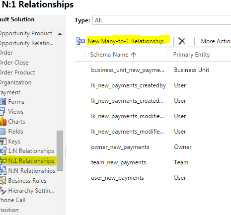 how to create an entity relationship inaccess
