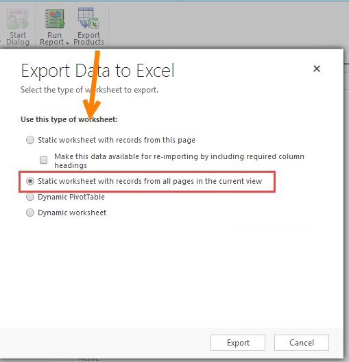 Exporting contacts by 'Industry Sector' to generate Excel