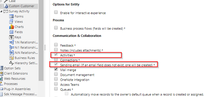 Voice of the Customer cannot send surveys from a custom entity
