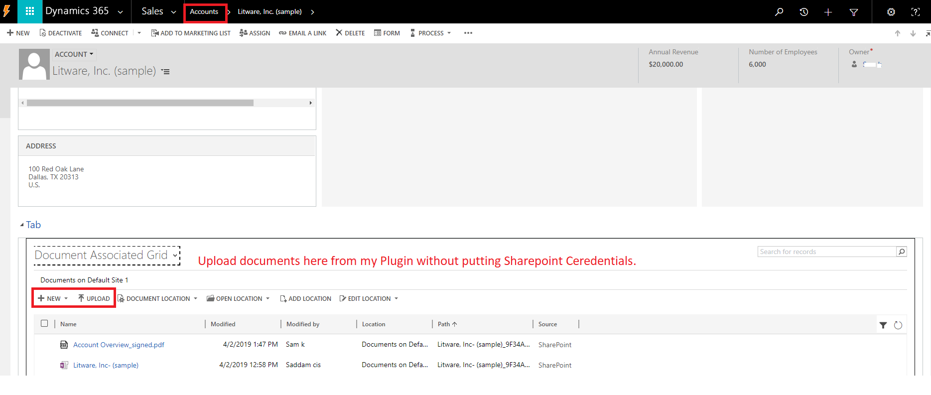 Upload Documents to SharePoint from Dynamics CRM Plugin