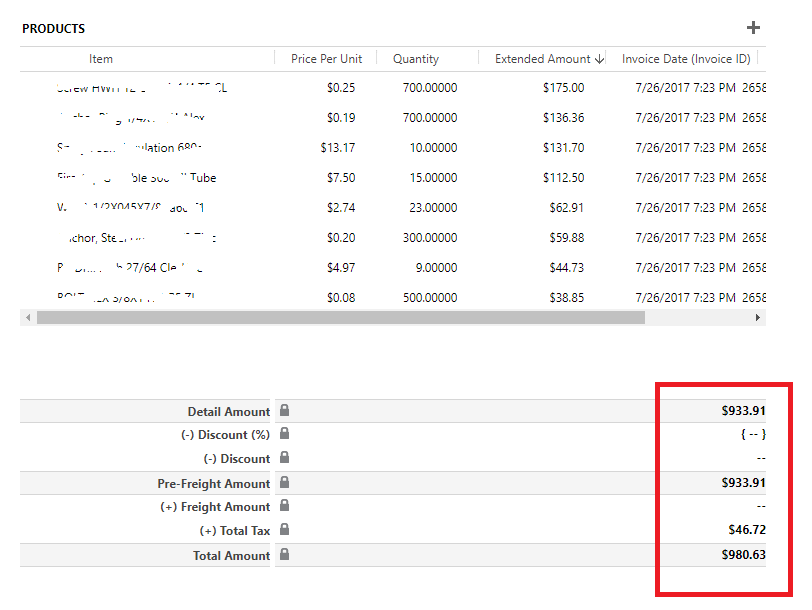 invoice total tax and total amount automatically recalculate