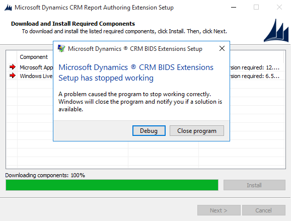 microsoft dynamics crm report authoring extension setup stopped