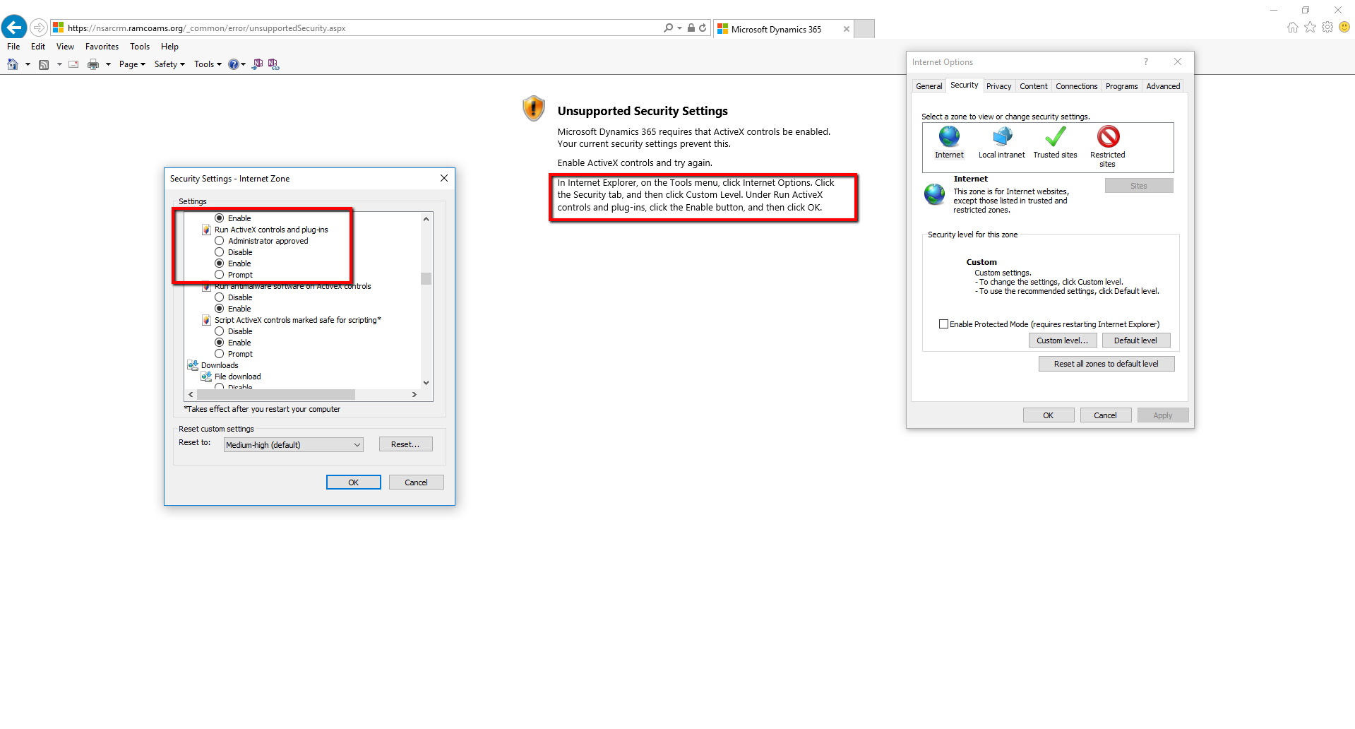 Unsupported Security Settings - ActiveX - Microsoft Dynamics