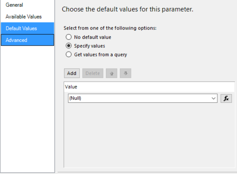 Fetch XML report input parameter with blank value - Microsoft