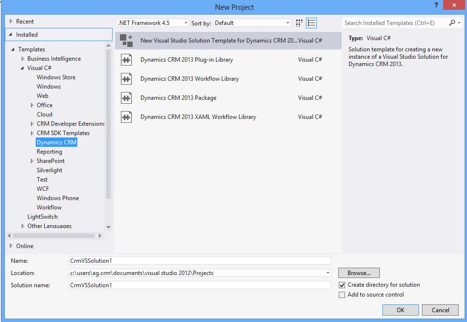 Visual Studio 2015 Templates for dynamic crm 2013