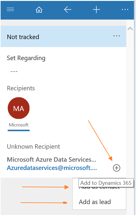 Dynamics 365 App for Outlook: Quick Create from email to a Custom