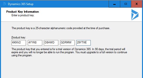 On-Prem Upgrade 8 2 to 9 0 Product Key - Microsoft Dynamics CRM