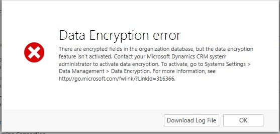 Encryption key ( Blank key) issue after CRM database restore