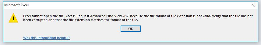 Error on opening Exported Excel file / Template from