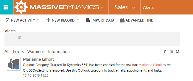 Dynamics 365 App for Outlook - Tracking status in Outlook
