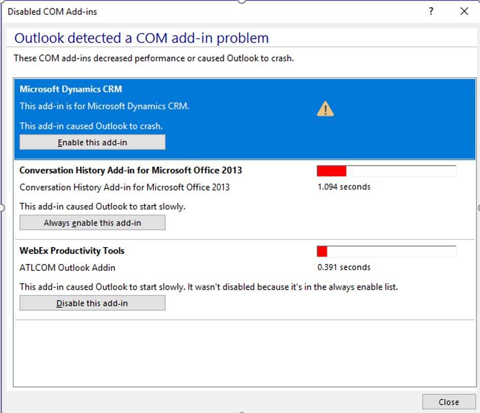 Dynamics crm for outlook not working? Troubleshooting options.