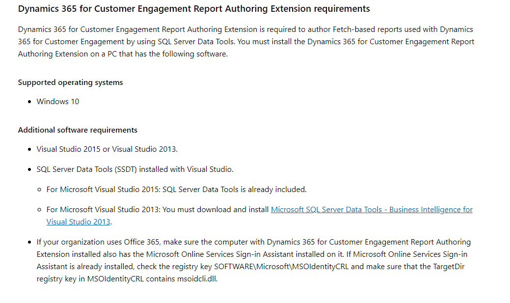 some of the required are missing report authoring extension