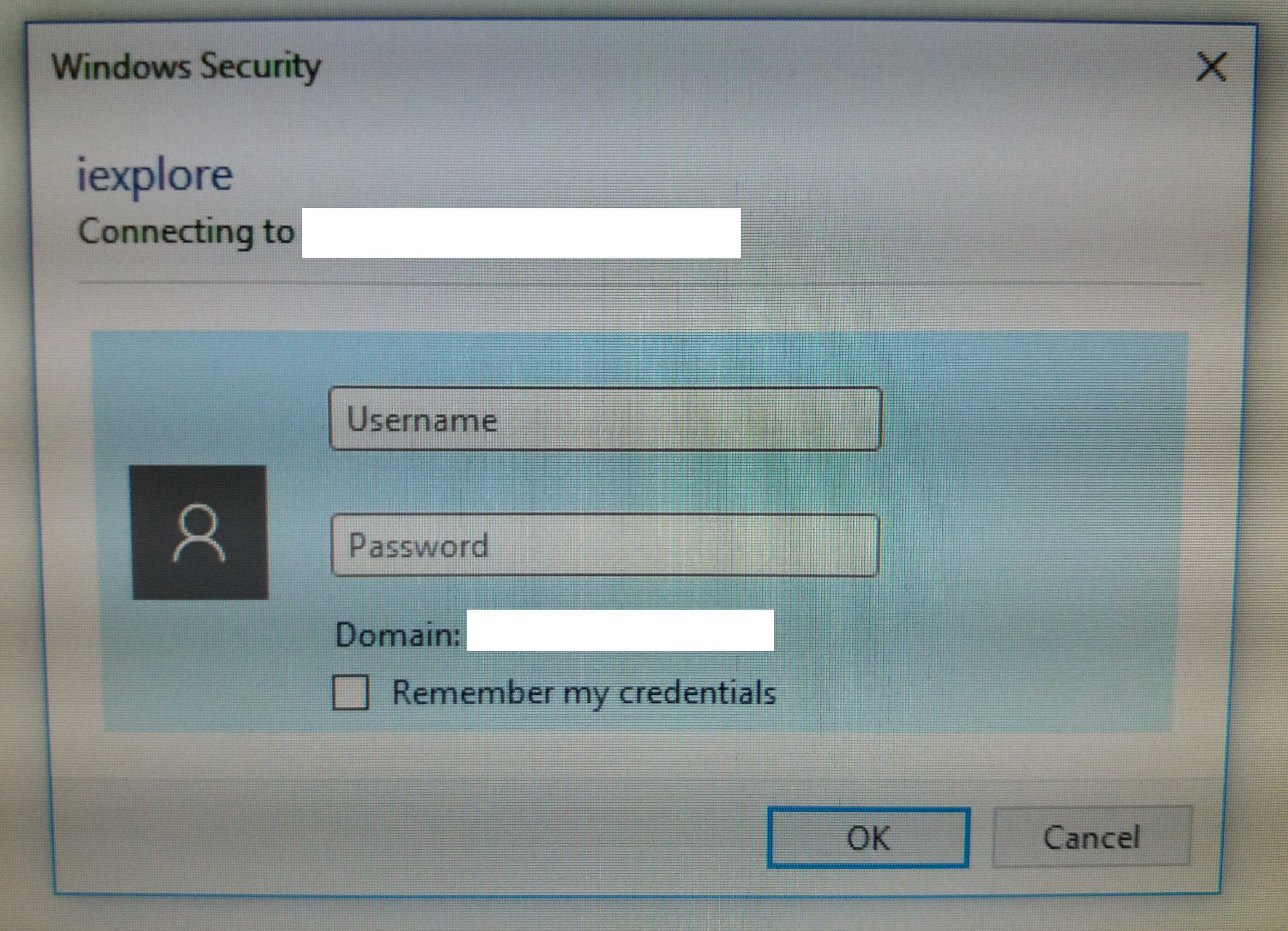 Windows Security popup on CRM client machine - Microsoft
