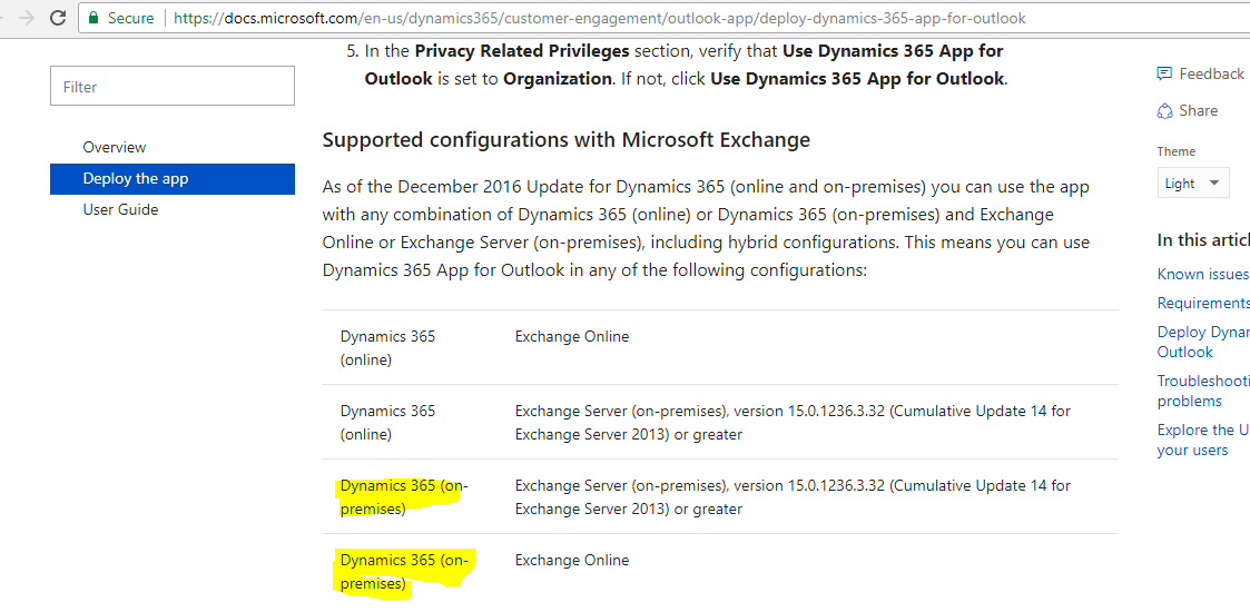 Anybody deploy Dynamics 365 App for Outlook with D365 on-premise