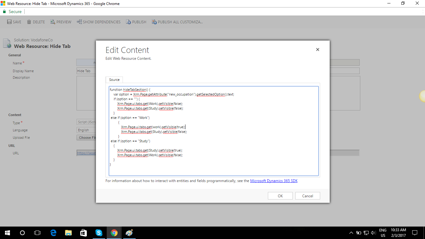 JavaScript For Show/Hide Tab - Microsoft Dynamics CRM Forum