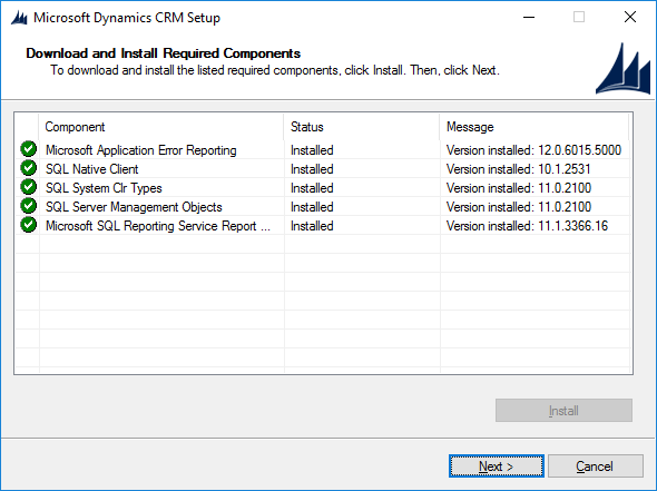 Can't Download and Install Required Components in Dynamics