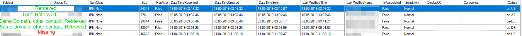 CRM cannot retrieve some E-Mails from the Exchange Server