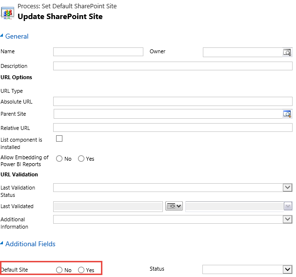 how to set Sharepoint site as default 'yes' in Dynamics 365