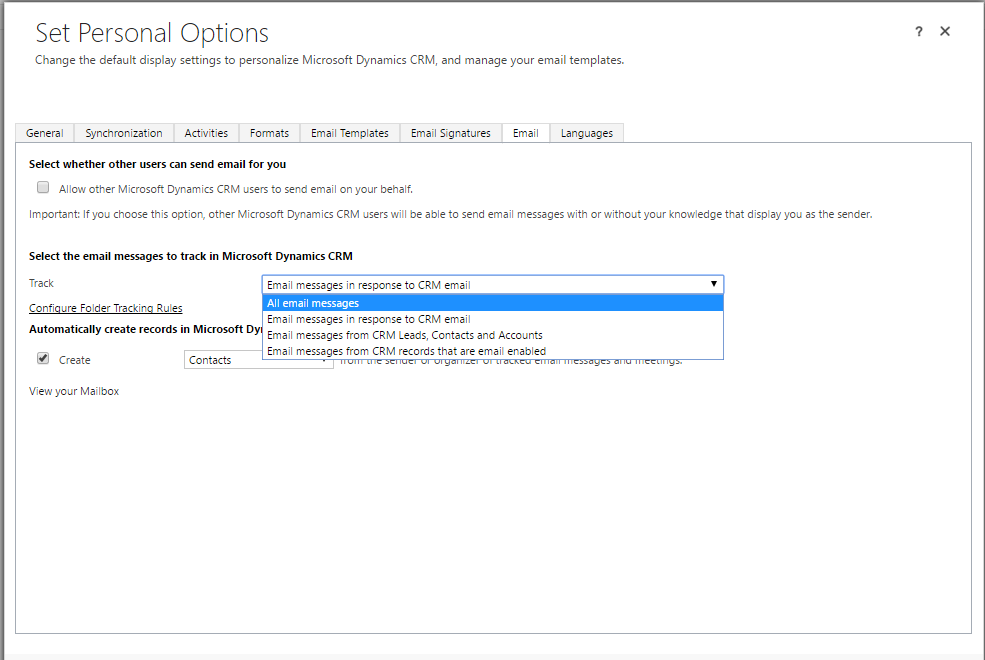 Dynamics 365 CRM (Online) - Outlook 2016 email tracking auto