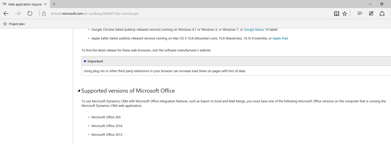 CRM 2016 web application not supported with Office 2010