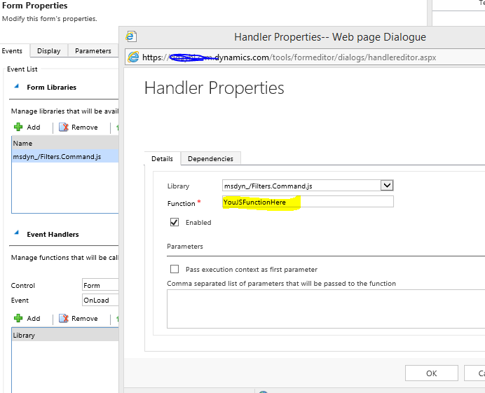 Setting up JavaScript action onload of a page - Microsoft Dynamics
