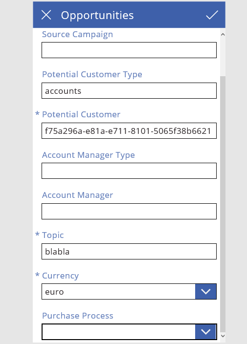 How to display Dynamics CRM option set in PowerApps as a