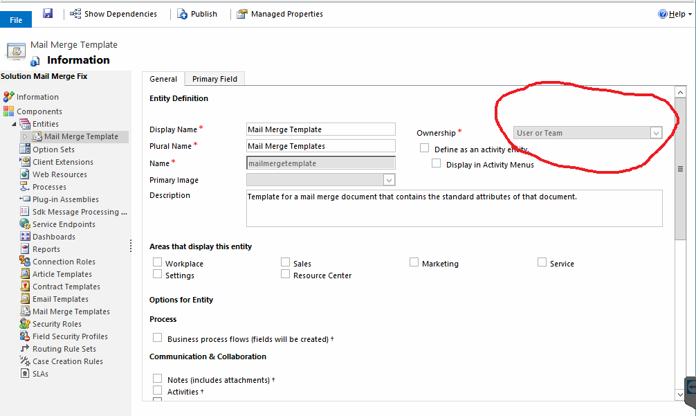 Changing ownership of the mail merge entity to organization